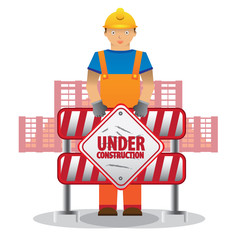 man worker with blue jumpsuit and yellow helmet in front of building holding under construction sign, vector illustration