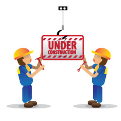 men workers with blue jumpsuit and yellow helmet holding under construction sign, vector illustration