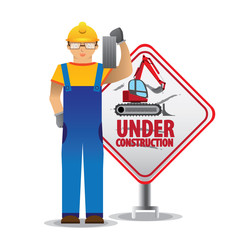 man worker with yellow jumpsuit and yellow helmet holding brick in front of under construction sign, vector illustration