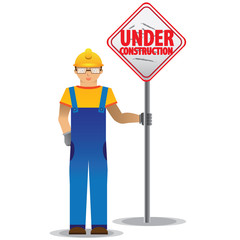 man worker with yellow jumpsuit and yellow helmet holding under construction sign, vector illustration