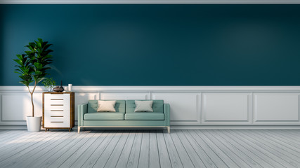 Minimalist room interior,blue sofa with plant and  wood cabinet on white flooring and  green wall  /3d render