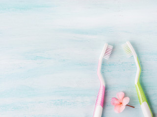 Two pastel toothbrushes with pink flowers mint herb over green textured background. Spring colors. Personal dental health care hygiene. Healthy couple concept