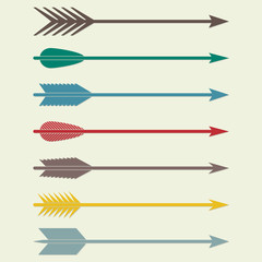 Arrows vector. Bow arrows. Arrow flat icons set.