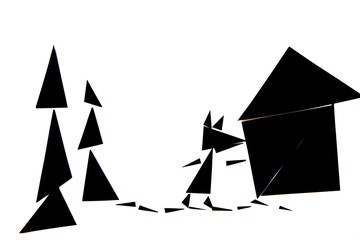 An abstract illustration of the red riding hood story with black and red triangles on a white background