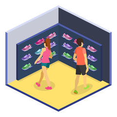 Isometric flat 3D isolated cflat illustration sports shoes shop. set of sneakers