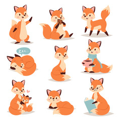 Fox cute adorable character doing different activities funny happy nature red tail and wildlife orange forest animal style graphic vector illustration.