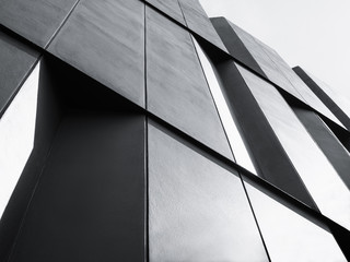Architecture detail Facade design Modern building Black and White Wall mural