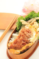 Japanese homemade packed lunch, Katsu don rice