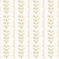 Golden floral background. Hand drawn nature pattern.