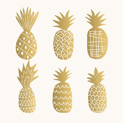 Set of golden pineapples
