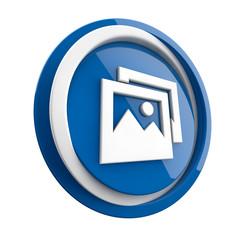 ikona plastikowa 3D niebieskie koło i pierścień