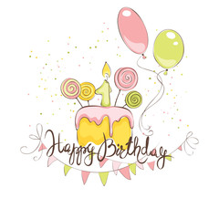 Happy Birthday in pink color / Funny vector illustration with cake