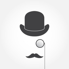 Hat, monocle, mustache. Old fashioned gentleman accessories icons set. Vintage style. Vector illustration.
