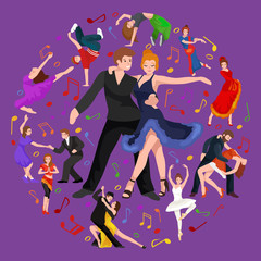 Happy Salsa dancers couple isolated on white icon pictogram, man and woman in dress dancing salsa with passion