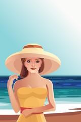 Красивая девушка в шляпе на пляжном отдыхе круиз, море вектор