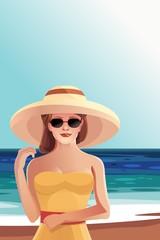 Красивая девушка в шляпе и солнечный очках на пляже вектор