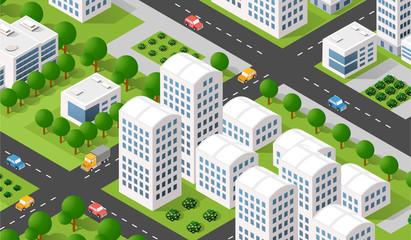 Isometric 3D illustration city urban