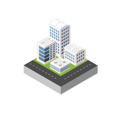 Isometric 3D icon city urban area with a lot of houses and skyscrapers, streets, trees and vehicles