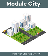 Isometric 3D illustration city urban area with a lot of houses and skyscrapers, streets, trees and vehicles