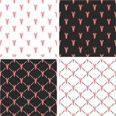Lobster Seamless Pattern Color Set