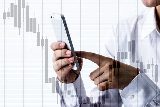 human hand using smartphone on white background