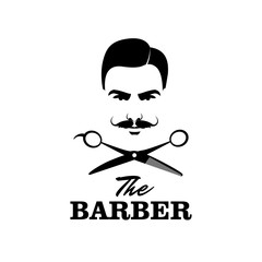 The Barber. Handsome man with mustache. Scissors. Barber shop symbol.