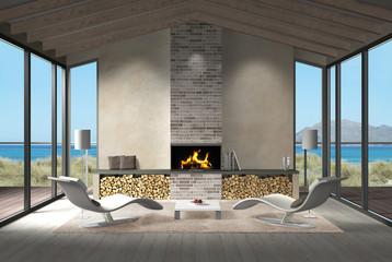 Wohnzimmer mit Dachbalken, Kamin und Blick auf das Meer