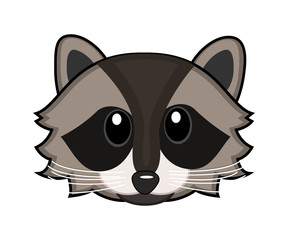 Cartoon wild raccoon. Vector illustration.