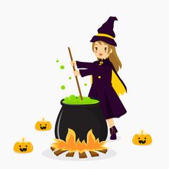 Witch stirring potion on a black cauldron vector.