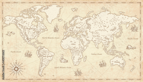 Wall mural Vintage Illustrated World Map