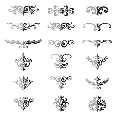 Set of flourishes calligraphic elegant ornament dividers - bicolor vector illustration