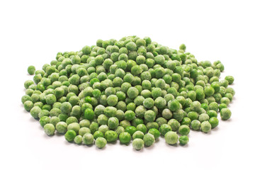 Frozen peas heap isolated on white background