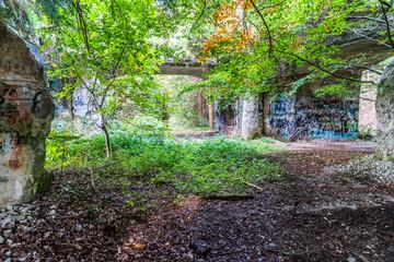 Vegetation übewuchert Bunker aus dem Zweiten Weltkrieg für Sprengstoff-Herstellung in Geretsried in Bayern