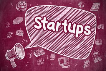 Startups - Doodle Illustration on Red Chalkboard.
