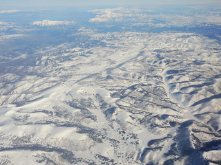 Aerial view of the natural wonders of the American land. Photo taken from the plane.