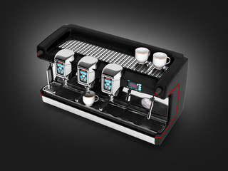 Modern Coffee Machine without on black gradient background 3d
