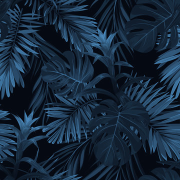 Exotic tropical vrctor background with hawaiian plants and flowers. Seamless indigo tropical pattern with monstera and sabal palm leaves, guzmania flowers.