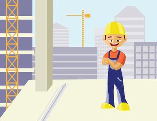 smiling builder man