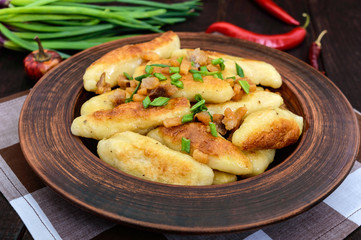 Popular traditional Czech, Hungarian, German dish: potato knedli (dumplings) with slices of fried bacon, spicy red pepper and green onions.