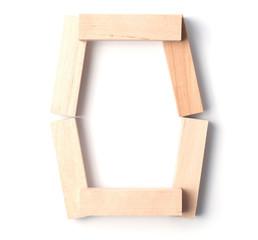 Alphabetic letter O, from wooden blocks