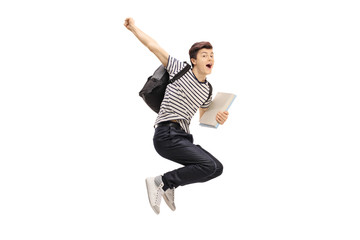 Overjoyed teenage student jumping and gesturing happiness Wall mural