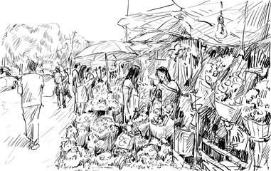 sketch of cityscape show flower market on street in Thai, illutration vector