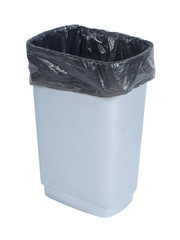 Empty trash container with black plastic bag on white background