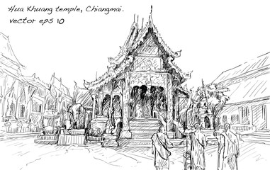 sketch of cityscape show asia style temple space in Thailand, illustration vector