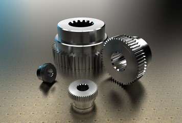 3d illustration of gears and shaft