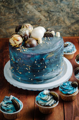 Galaxy blue birthday cake