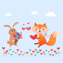 Bunny with Bouquet of Flowers and Fox with Wings