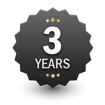 3 YEARS Black Vector Icon with Stars