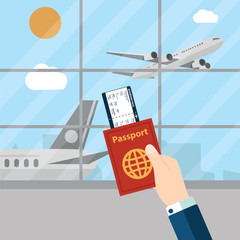 Hands hold passport and boarding pass waiting flight inside of airport with a plane, cityscape in background. Travel concept. Vector illustration in flat design.