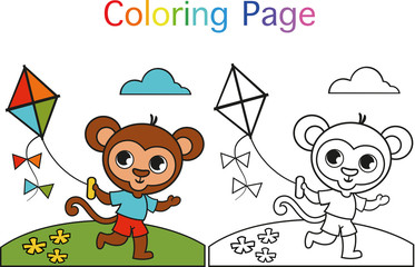 Cute monkey with colored and colorless format for kids.